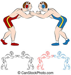 Wrestlers - An image of two wrestlers.
