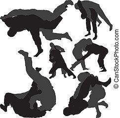 wrestlers, jiu-jitsu, vettore, judo