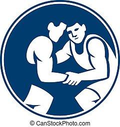 Wrestlers Wrestling Circle Icon - Icon illustration of...
