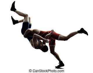 wrestlers wrestling men isolated silhouette - two caucasian...