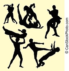 Wrestling fight sport silhouette