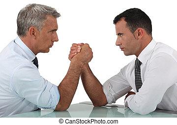 wrestling, homens negócios, braço