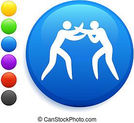 wrestling icon on round internet button