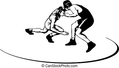 Black and white vector illustration of two male wrestlers.