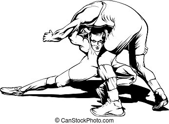 Wrestling Move - Black and white vector illustration of a...