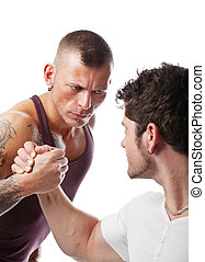 Wrestling of strong men - Two strong men wrestling; isolated...
