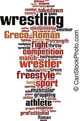 wrestling, palavra, nuvem