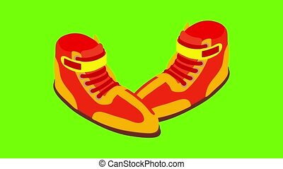 Wrestling shoes icon animation cartoon best object on green screen background