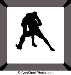 wrestling silhouette vector