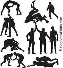 wrestling silhouettes - freestyle wrestling and greco-roman...