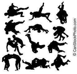 Wrestling Sport Activity Silhouettes