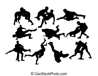 Wrestling Sports Silhouette
