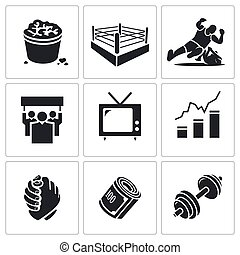Wrestling Vector Icons Set