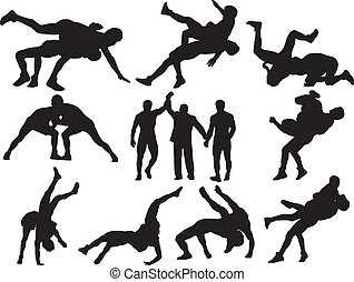 wrestling, vetorial, silhuetas