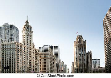wrigley bâtiment, tour, tribune, chicago