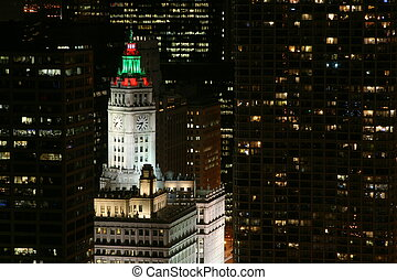Wrigley Building at night