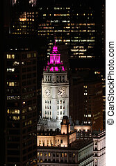 Wrigley Building with Colorful Ligh