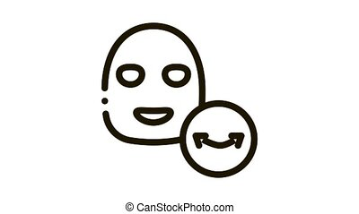 Wrinkle Face Mask Icon Animation. black Wrinkle Face Mask animated icon on white background