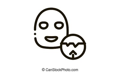 Wrinkle Smoothing Mask Icon Animation. black Wrinkle Smoothing Mask animated icon on white background