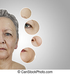 wrinkle smoothing - the face of an old woman. as collage ...