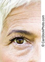 Wrinkled eye of beautiful lady