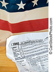wrinkled income tax form