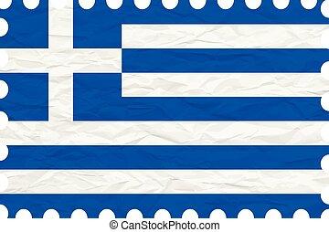 wrinkled paper greece stamp