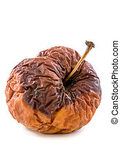 Wrinkled rotten apple. - Wrinkled rotten apple on a white...