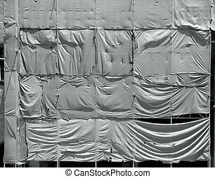 Wrinkled tarpaulin canvas background