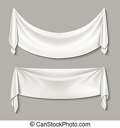 Wrinkled textile drape fabric vector empty white banners set