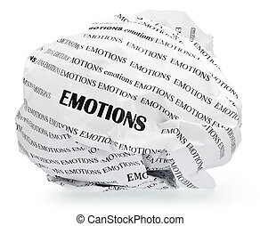 Wrinkles emotions - ball of crumpled paper with conceptual...