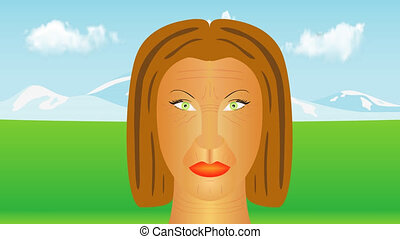 Wrinkles on face - Woman's face with the places where...