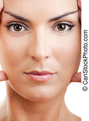 Wrinkles treatment - Close-up portrait of a beautiful and...