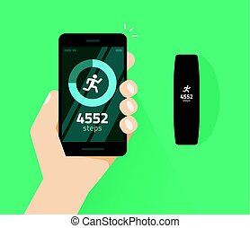 Wrist band bracelet with run activity and fitness tracking app on mobile phone screen vector flat, smartphone with run tracker and wristband, walk steps counter sport tech on cellphone