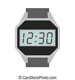 Wrist digital watch icon, flat style