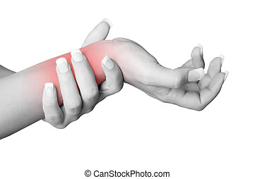 Wrist Pain - Female with pain in her wrist, isolated in a...