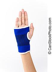 Wrist splint hand isolated white background