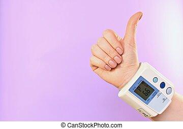 wrist., tonometer, geste, main