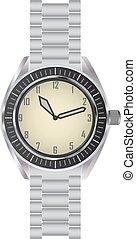 Wrist watch - Classic metallic wrist watch vector