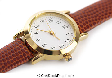 Wrist watch - Classical wrist watch on white background.