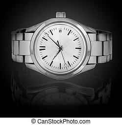 Wrist watch isolated on black background.