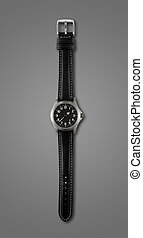 Wrist watch isolated on dark grey background