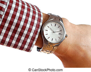 Wrist watch on hand isolated on white background