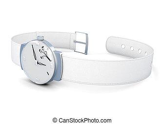 Wrist watch on white background.