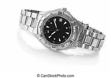 Wrist Watch - Chrome and black wrist watch, casting...