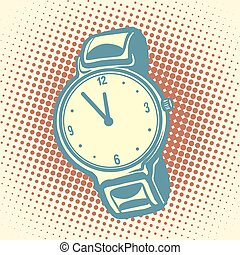 Wrist watch retro. Old illustration. Pop art vector. Time and dial