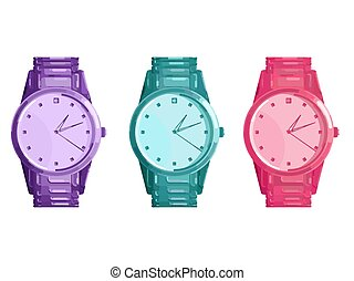 Wrist Watch. Set of three wristwatches are purple, blue and...