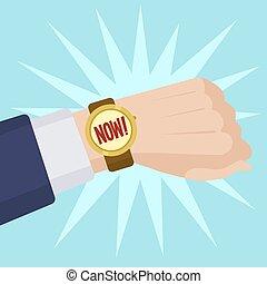 Wrist watch show now cartoon vector illustration
