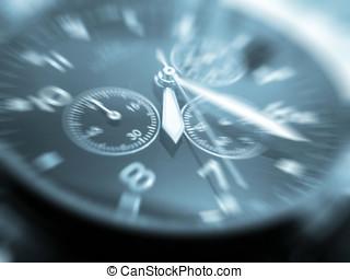 Wrist watch - close-up of face of wrist watch toned blue