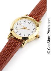 Wrist watch - Classical wrist watch on white background.